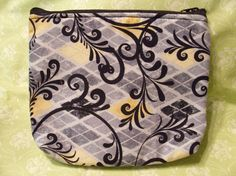 Make up bag or wipe holder  scroll print by MadkDesigns on Etsy, $12.50