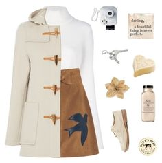 """""""""""i don't think of all the misery but of the beauty that still remains"""" - Anne Frank"""" by milkshakes-and-dogs ❤ liked on Polyvore featuring Balmain, RED Valentino, Gloverall, Sugarboo Designs, Forever 21, Fujifilm, Clips and Burt's Bees"""