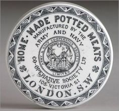 Victorian porcelain pot lid: Home-Made Potted Meats, Army And Navy Co-operative Society, 105 Victoria Street, London Navy Co, Army & Navy, Cosmetic Labels, Campaign Furniture, Pot Lights, Round Labels, Vintage Bottles, Bottle Art, Antique Glass