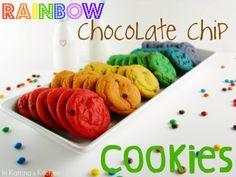 Rainbow Chocolate Chip Cookies #Recipe from @KatrinasKitchen   www.inkatrinaskitchen.com
