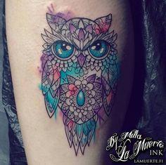 Geometric owl tattoo by Milla Sipola @ La Muerte Ink