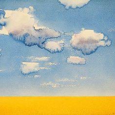 #endrepenovac #watercolor #aquarelle #summer #hot #sunnyday #clouds #sky #rurallife #minimalism #thelessismore #artoftheday #instagram #paintings #saatchi #art #gallery #endre #penovac #пеновац