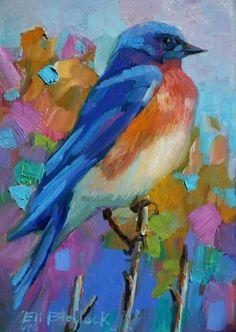 BLUE BIRD SURVEYING HIS DOMAIN, painting by artist Elizabeth Blaylock