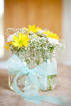 Yellow & Tiffany Blue Southern Chic #Wedding #Centerpiece| Photo by:  amandajaynephoto.com