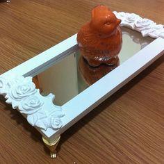 Bandeja lavabo 32x16 #bandeja #bandejamdf #bandejasala #bandejavidro #bandejalavabo #bandejatecido #bandejaespelhada #espelho #resina #decoração #lavabo