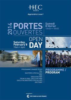 Journée Portes ouvertes 2014 - Open Day HEC Paris Brochure Design, Flyer Design, Layout Design, Dance Academy, New Poster, Type Setting, Boiler, Social Media Design, Graphic Design Inspiration