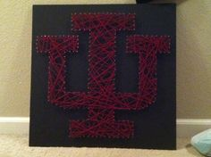 String art I made Bradley for his birthday / Valentine's Day / anniversary #DIY #IU #Hoosiers
