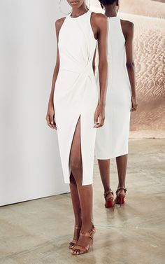 The designers: New York-based Carly Cushnie and Michelle Ochs are known for their form-fitting silhouettes and stretch cady fabric.         This season it's about: Michelle's recent safari honeymoon in Tanzania inspires sophisticated shades of mushroom, sea salt, sandstone and currant, while graphic beading and drapery nod to the clothing worn by the Maasai tribe.