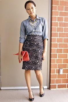 Chambray shirt + lace skirt