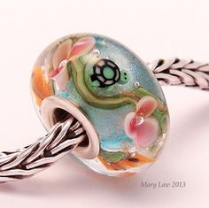 Turtle & Koi Pond Bead.  This is one of the last few turtle murrini I have. Turtle and Koi fish Murrini made by Deanne Buchanan.