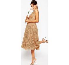 e0e2cfc379ce83 ASOS WEDDING - Vestito da cerimonia in pizzo - Blush asos marroni Classico  damigella