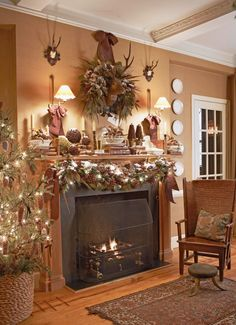 A rustic display enhances the cozy comforts of the holidays. Bowls of potpourri, balls of moss, and leather-bound books lend personality. Pinecones add texture while providing a natural departure from the greenery. White lights weaved in among the boughs illuminate the powder snow and make the mantel shine.