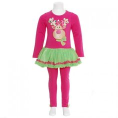 Rare Editions Fuchsia Reindeer Christmas Outfit Little Girls 3M-6X