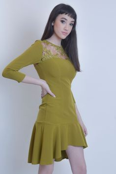 Joy Miss's dress attracts admiring glances with a fit-and-flare silhouette rendered in olive floral lace. Mustard Dressing, Retro Fashion, Womens Fashion, Affordable Dresses, Miss Dress, How To Feel Beautiful, Wedding Attire, Women's Fashion Dresses, Fit And Flare