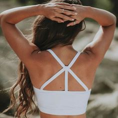 With criss cross straps to peek through your favorite tank, and a longer fit up front to stay in place, the Exhale Bra is sure to become your newest go-to support top. No sacrificing comfort for style Gym Style, Sporty Style, Athletic Fashion, Athletic Wear, Albion Fit, Cute Sports Bra, Take Care Of Your Body, Yoga Bra, Top 5
