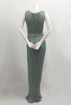 Fortuny Delphos tea gown with original box, 1930s.