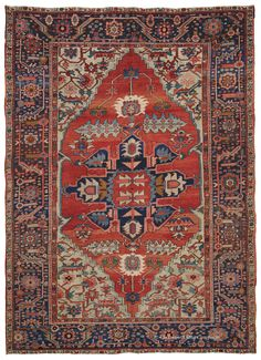 SERAPI, Northwest Persian 8ft 10in x 12ft 5in, Late 19th Century http://www.claremontrug.com/antique-rugs-information/collecting/claremont-rug-companys-new-acquisition-highlights-antique-persian-rugs/serapi-northwest-persian-8ft-10in-x-12ft-5in-late-19th-century/