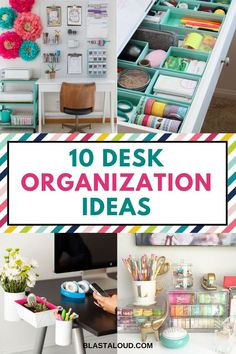 Desk organization ideas for a clean and decluttered office. With these desk orga… – Home Office Design Diy Desk Drawer Organisation, Office Organization At Work, Sewing Room Organization, Organization Hacks, Organizing Ideas For Office, Organized Office, Financial Organization, Desk With Drawers, Organizing Your Home