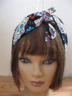 Hair Bandana, PinUp Hair, Halloween, Day of the Dead Dread Wrap, Wide Hair Band, Fabric Hair SCARF, Boho Bandana, RockaBilly 50s by StitchesByAlida on Etsy