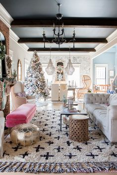 Our Colorful Christmas Holiday Living Room Home Tour - Inside Our Colorful Christmas Holiday Home Tour… living-room-black-ceiling-wood-beams-anthropolo - Fireplace Beam, Living Room With Fireplace, Lounge Design, Design Design, Interior Design, Chesterfield Sofa, Living Room Furniture, Living Room Decor, First Apartment Decorating