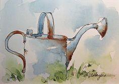 Watercolor Paintings by RoseAnn Hayes: Watering Can