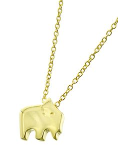 Gold Tone / Lead Compliant / Metal Sterling Silver / Animal / Elephant / Delicate / Necklace