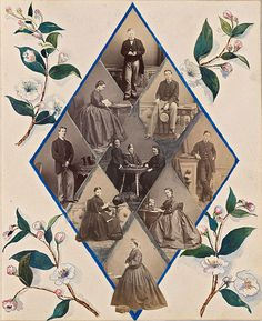 In this page from the Victorian era, multiple family photos were cropped into small diamond shapes to form one large diamond. Notice how the photos were layered and cropped to an edge so that a foot, a hem line and even a dog overlaps onto another photo. Flower images were cropped from a book and watercolors were used to paint around them and the photo diamond.