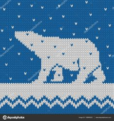 Knitted winter blue seamless pattern with polar bear with snow. All elements separate and editable. Loom Patterns, Cross Stitch Patterns, Filet Crochet, Knit Crochet, Knitting Charts, Loom Beading, French Vintage, Polar Bear, Pixel Art