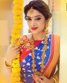 Looking for gorgeous saree colors to wear for weddings? Here are our picks of 12 beautiful colors that look dashing on the event! Elegant Design Indian Saree CLICK VISIT link above to see Bridal Sarees South Indian, South Indian Bride, Kerala Bride, Wedding Guest Makeup, Indian Blue, Indian Wear, Modern Saree, Hindu Bride, Indian Bridal Makeup