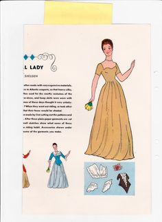 "Colonial Lady paper doll & clothes to make by Katherine Shelden (1 of 2), ""Jack & Jill Mag,"" Feb 1949 