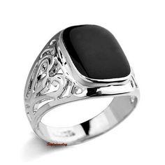 18k White Gold Plated Men's Silver Rectangle Black Enamel Signet Ring Band R119