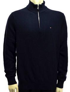 Winter Spring Men Tommy Hilfiger Blue 1/4 Zipper Sweater Long Sleeve Size XL #TommyHilfiger #14ZipSweater
