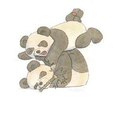 Pandas part The battle begins 😂 Panda Painting, Battle, Teddy Bear, Artwork, Blue, Instagram, Pandas, Animales, Work Of Art
