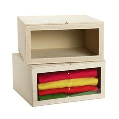 The Container Store > Linen Drop-Front Sweater Box (perfect for baby item storage in closet)
