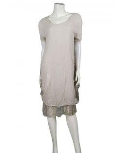 Damen Kleid mit Spitze, beige von www.meinkleidchen.de