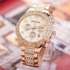 2017 Luxury Watch Women Geneva Watches Crystal Quartz Wrist Watches For Women Ladies Dress Watch Gold Rose Gold Relogio
