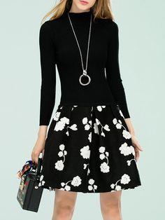 #AdoreWe #StyleWe Umi Eason Black Paneled A-line Floral Girly Mini Dress - AdoreWe.com