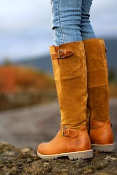 Suede and leather winter boots
