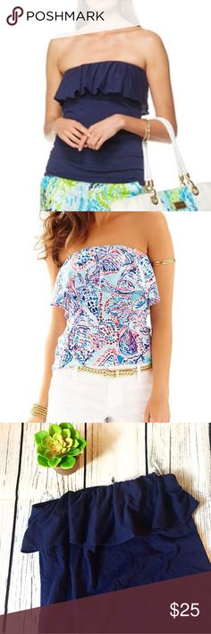 Lilly Pulitzer Ruffle Tube Top Medium Navy blue, great condition! Lilly Pulitzer Tops