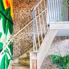 For å forbedre akustikken og skape et lunere uttrykk på restauranten er WALL-IT sine bærekraftige vegger et naturlig valg. Naturlige og bærekraftige veggelement av kork, kokos, mose og sukkerrør er trendy og tidsriktig.  Amerigo Bar og Grill på Solli plass i Oslo valgte KOKOS | NATUR som en kontrastvegg på restauranten. Veggen gjorde atmosfæren lunere og koseligere samtidig som den rustikke trappen fikk nytt liv. Måten Amerigo har kombinert egendesignet tapet og kokosvegg gir et trendy og… Outdoor Furniture, Outdoor Decor, Hammock, Stairs, Restaurant, Wall, Home Decor, Nature, Stairway