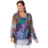 Peacock Print Tunic - Large Size Clothing - www.plussizedglamour.co.uk