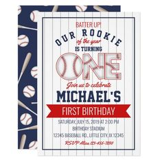 First Baseball Birthday Invitation Baseball Birthday Invitations, Baseball First Birthday, Boys First Birthday Party Ideas, One Year Birthday, Birthday Themes For Boys, Baby Boy First Birthday, Birthday Ideas For Adults, Rodeo Birthday, Birthday Gifts