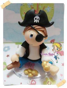 topo de bolo festa do pirata com moedas