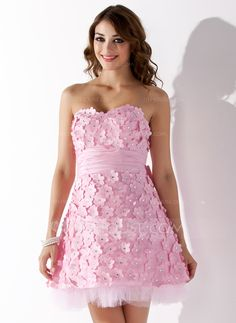Robe cocktail bustier rose