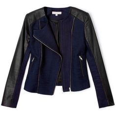 Paul & Joe Sister Gauthier Biker Jacket With Leather Sleeves (3.560 NOK) ❤ liked on Polyvore featuring outerwear, jackets, coats, tops, blue jackets, leather jackets, asymmetrical zip jacket, leather biker jacket and asymmetrical zipper jacket