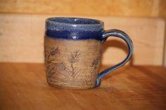Pottery+Mug++Deep+Blue&+white++carved+Coffee+Mug+by+RedBirdClay,+$16.50