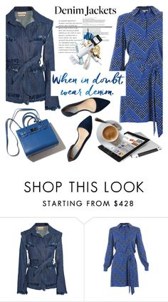 """Denim Trend: Jean Jackets"" by helenevlacho ❤ liked on Polyvore featuring Maggie Marilyn, Diane Von Furstenberg, Cole Haan, contestentry and denimjackets"