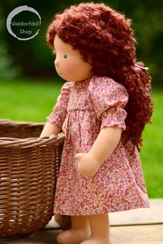 Willow is a lovely 16 tall Waldorf doll with chestnut brown hair made of mohair boucle. She has dark blue eyes and pale skin. She is filled with pure wool. Her skin is made of excellent quality durable 100% cotton Swiss jersey, that is designed for doll making. It has OEKO-TEX®