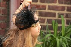 Dinner at Gatsby's gold and black flapper headband 1920s headband with vintage brooch  - 20s party, Great Gatsby, girl or woman
