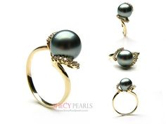 Black Cultured Tahitian Pearl Ring , 9.0mm-10.0mm , AAA, 5161-TBR98 | ShecyPearls Ring